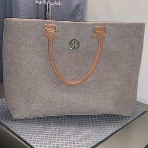 Tory Burch wool and leather tote
